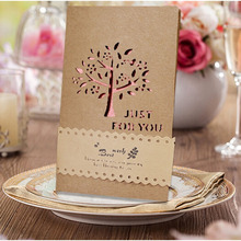 10pcs/lot Beautiful Wedding Inviting Card Hollow Tree Birthday Party Favor Folding Type Besh Wish Greeting Card