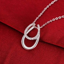 1 Pc Lucky Rhinestone Double Horse Hoof Horseshoe Pendant Necklace 925 Jewellery Siver Colour