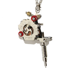 1PCS Mini Tattoo Machine Pendant Unisex Cool Fashion Jewelry Necklace Silver Tattoo Gun Toy For Free Shipping TM-915(China)