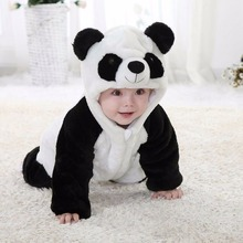 2017 New Puseky Infant Baby Plush Panda Head Hooded Long Sleeves Romper Cute Black White Panda Suit 0-24M Kids Clothes Set(China)