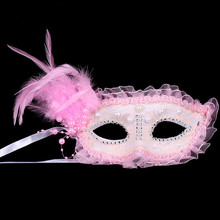 halloween dance party Venice mask lace mask antique decoration Bead feather mask venetian mardi gras masquerade mask(China)