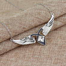 Movie Mortal Instruments City of Bones Angelic Power Necklace Silver Crystal Angel Wing Pendant Necklace Fandom Jewelry(China)