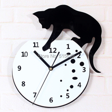 Novalty Naughty Cat Wall Clock Acrylic Home Decor Watch Modern Design Black 12""