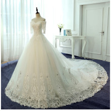 Buy Gelinlik Arabic Ball Gown Lace Wedding Dresses 2017 robe de mariage half sleeves vestido de noiva de renda Vintage Bridal Gowns for $440.00 in AliExpress store