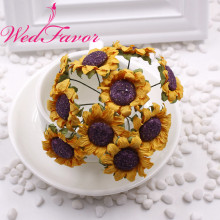 WedFavor 100pcs 4cm Artificial Mulberry Paper Flowers Imitation Sunflower Bouquet For Wedding Box Hair Wreath Scrapbooking