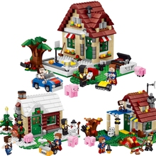 Minecrafted The Farm Four Season House 569 Pcs Mini Bricks Set Sale Building Blocks Toys For Children Compatible with Lepin