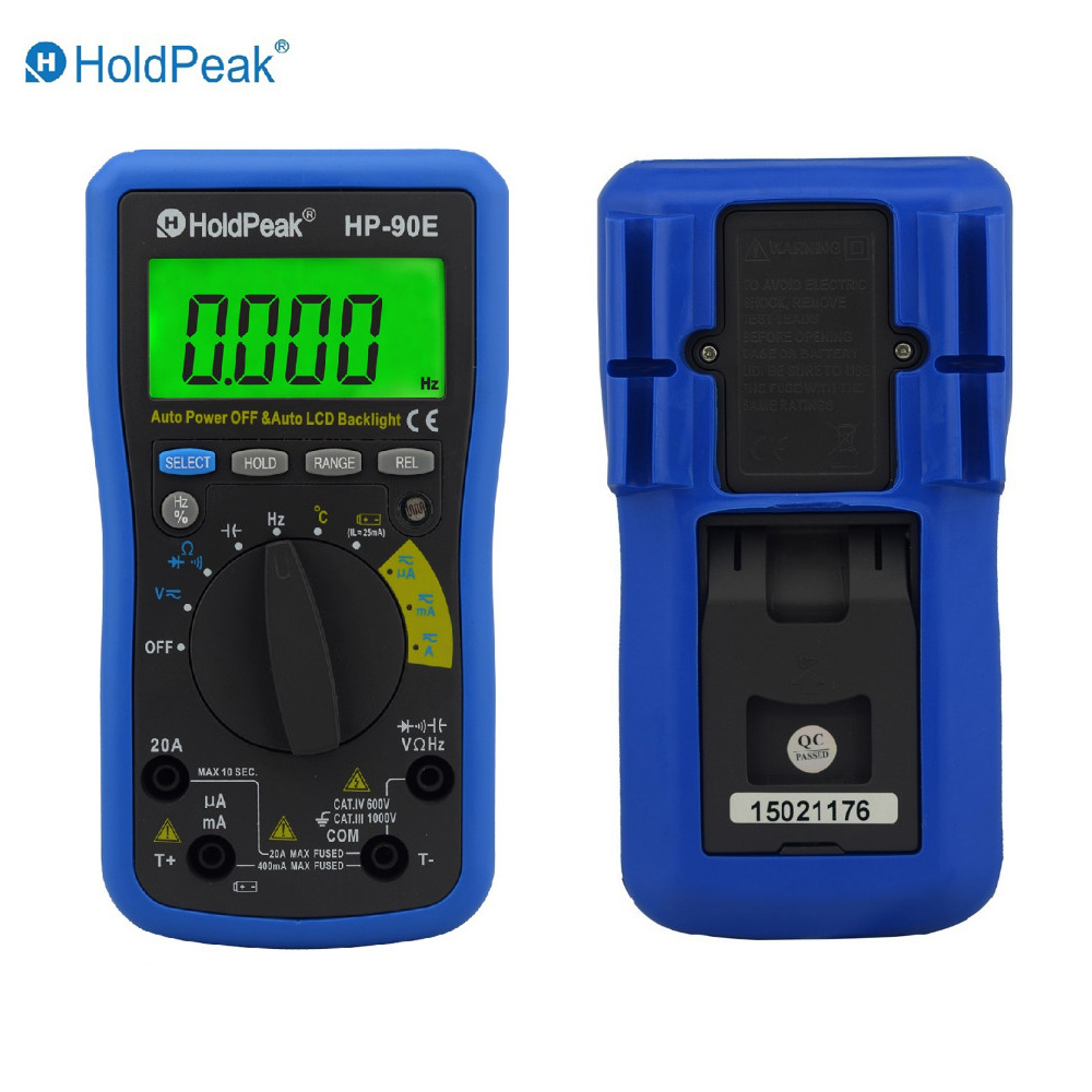 Multimetro Digital HoldPeak HP-90E Digital Auto Range Multimeter with Auto Backlight and Battery Test Function<br>