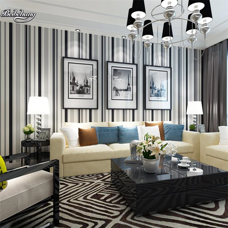beibehang Modern color wallpaper yellow black and white bedroom background wallpaper living room stripes Mediterranean style<br>