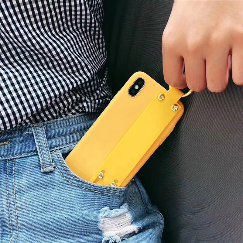 LUDI Vintage Wrist Strap Phone Case for iPhone 7 7Plus Case for iPhone X 6 6s 8 Plus Yellow Purple Black Plain Soft Silicon Capa7
