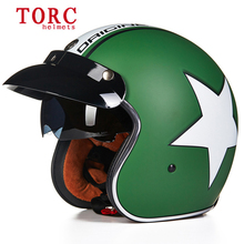 New fashion TORC casco vintage motorcycle helmets harley scooter jet pilot helmet 3/4 open face vespa cruise Capacete with Visor