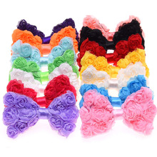 14PCS No Clips Triplex Chiffon Bow Rosette bows flower headwear hair accessory hair flowers(China)