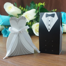 (50 pieces/lot) Bride And Groom Wedding Candy Box Paper Wedding Gifts For Guests Wedding Souvenir Supplies Chocolate Box /A