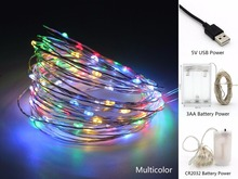 2M 5M 10M USB/Battery Power Copper Wire Waterproof LED String Lights for Holiday Party Wedding Christmas Decoration Lighting