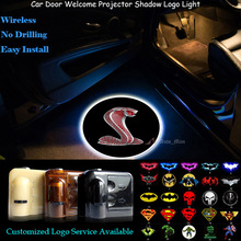 3D Red Cobra Logo Wireless Car Door Welcome Ghost Shadow Spotlight Laser Projector LED Light for Ford Mustang Shelby GT350 500(China)
