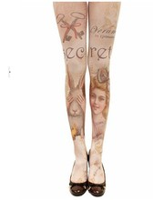 1pcs resell 2018 most Personality new style retro rabbit Scissors girl tattoo stockings,pantyhose Spring winter sexy Tights(China)