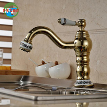 Luxury Ceramic Brass Deck Mount Single Handle curved Bathroom Kitchen Wash Tap with Hot Cold Water(China)
