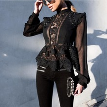 Fashion Spring blouse flower Crochet Lace Blouse self women Hollow out blouses self portrait tops floral elegant clothes(China)