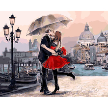 Kissing Lover Oil Painting By Numbers On Canvas DIY Handpainted Romantic Painting Coloring By numbers New Year Home Decor Cheap(China)