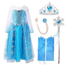 Nicoevaropa New Girl Elsa Dresses Costume with Hair Accessory Set Blue Lace Long Sleeves Kid Sequinned Dresses Children Cosplay