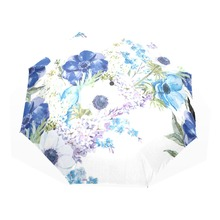 New Blue Flowers Oil Painting Arts Umbrella Creative Three Folding Sun Umbrella Automatic Umbrellas Women with Blacking Coating