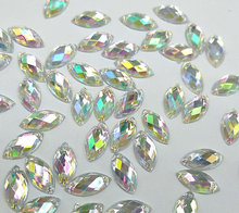 Clear AB color Navette Marquise Rhinestones 6x12mm Sew-on Strass Crystal For Evening Prom Wedding Dress Handcraft Accessories