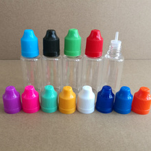 200pcs 20ML Clear Eye Drops Bottle with long thin tip and childproof caps,  Empty Refillable Bottle for E liquid Nail Gel