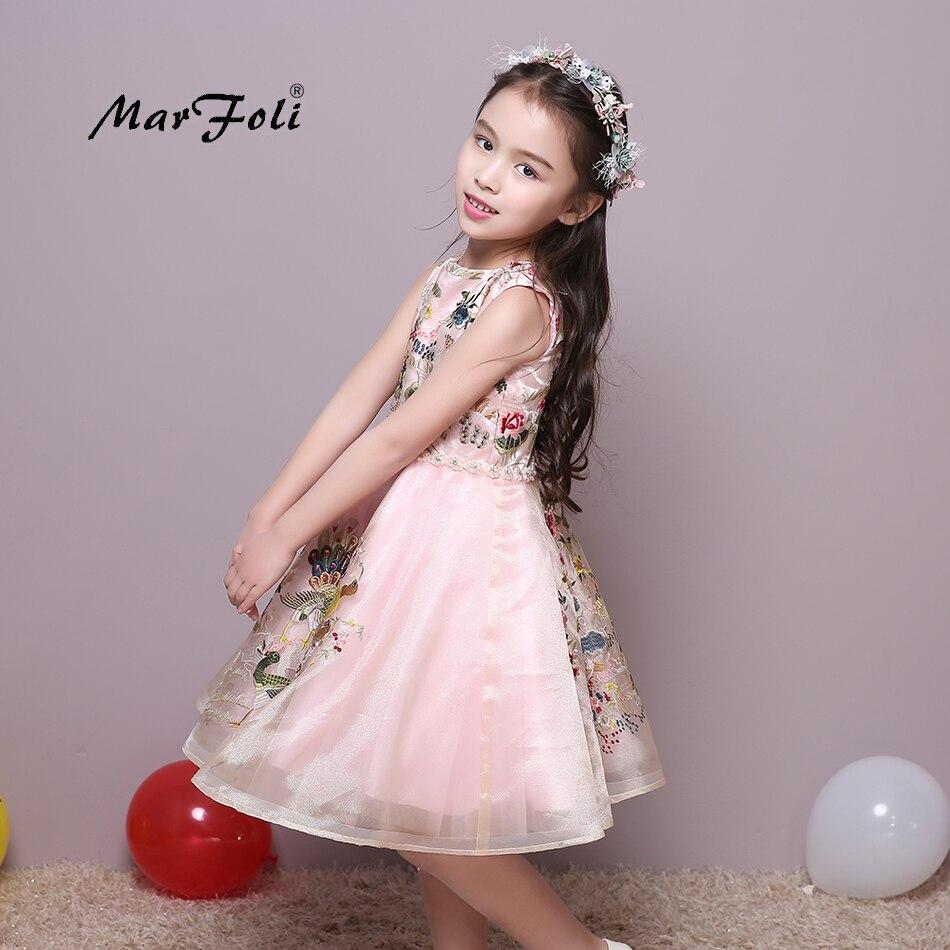 Marfoli Girls Sleeveless Embroidery Tulle Princess Party Dress girl birthday gift cute o-neck dress for wedding #ZT046<br>