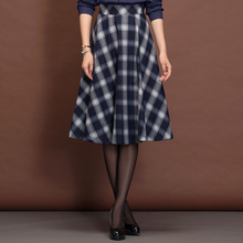 Winter Skirt Vintage Women's Cothing Red Pleated Plaid Skirt Women England Style Fashion Falda Invierno A-Line Plaid Skirt C1251