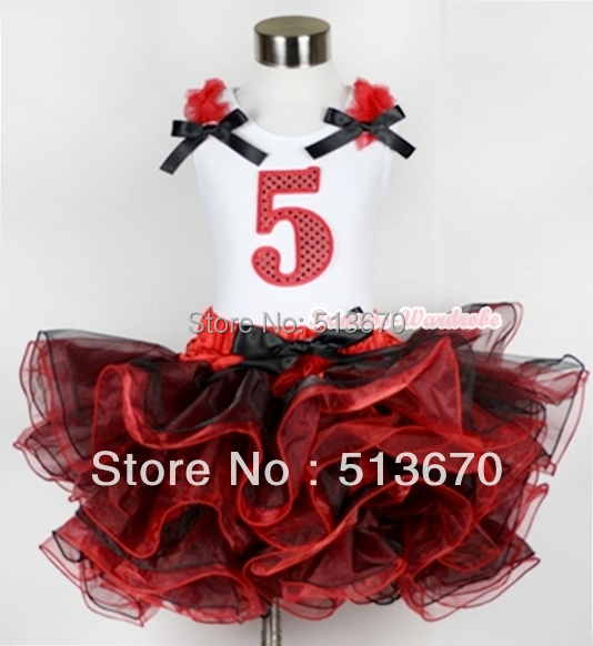 Red Black 8 Layered Pettiskirt Red Sparkle Number Ruffle Red Bow Tank Top MAMG579<br>