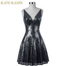 Kate Kasin Short Sequins Cocktail Dress 2017 Women Knee Length Formal Gown V Neck Cocktail Party Dresses Vestido Coquetel 1075(China)