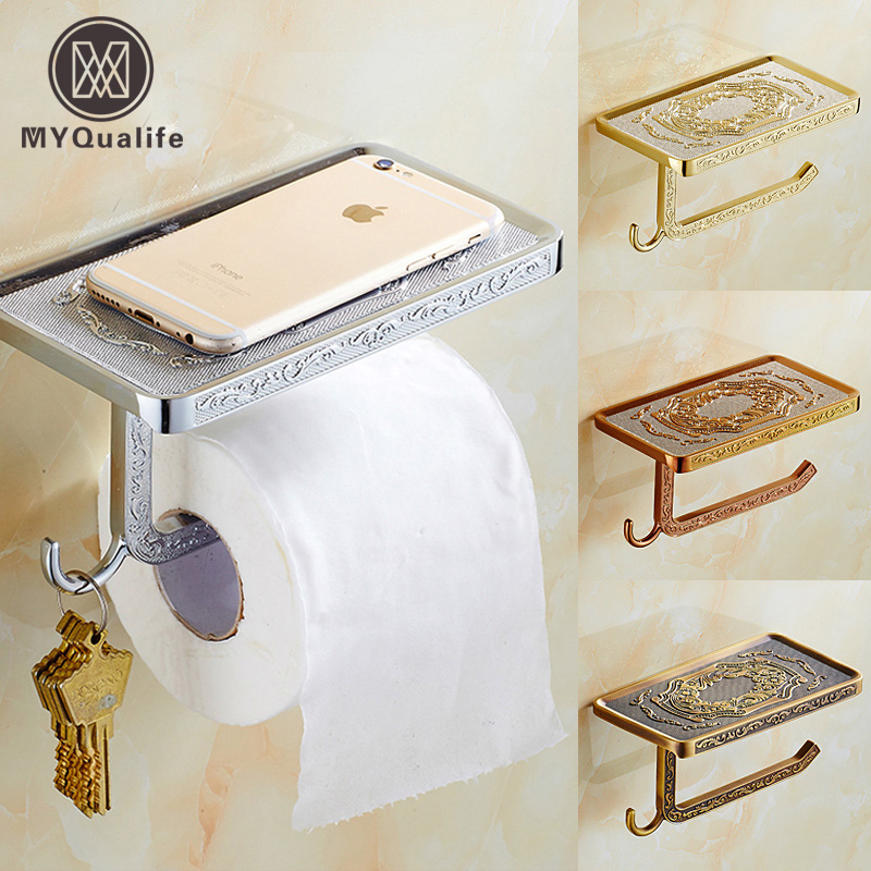Free Shipping Artistic Bathroom Roll Paper Tissue Rack Paper Holder Wall Mounted Mobile Phone Holder<br>