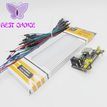 free 3.3V/5V MB-102 Breadboard power module+MB-102 830 points Solderless Prototype Bread board kit +65 Flexible jumper wires