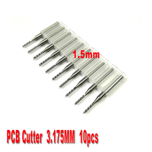 free shipping 10pcs 1.5mm PCB end mills Carbide Tools, CNC Cutting Bits, Millinging Cutters Kit for Engraving Mill Machine