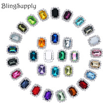 19*15mm acrylic rhinestone button flatback can mix colors 10PCS/lot(BTN-5673)(China)