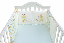 6-14Pc/Lot Infant Crib Bumper Bed Protector Baby Kids Cotton Cot Nursery bedding Cotton Beige Gariffe Square Pillow Cushion(China)