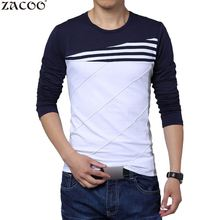 ZACOO Men's T-shirt Long Sleeve T shirt Cotton Casual Round Neck Sweatshirt Fashion Male Slim Patchwork T-shirts 2017 Spring(China)