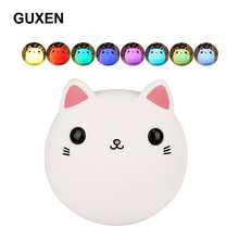 Guxen Cat LED Night Light Silicone Lamp for Kids Children 7-color Breathing USB Rechargeable with Tap Control For Night Feeding(China)