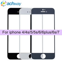 Black Glass For iPhone 4/4S/5/5C/5S/6/6S/6Plu/7/plus Front Panel Outer Screen Glass Lens Cover Assembly For Iphone 5S 6 6s parts(China)