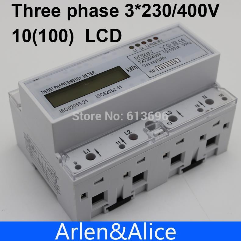10(100)A 3*230V/400V 50HZ  three phase Din rail KWH Watt hour din-rail energy meter LCD<br>