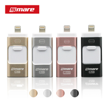 Smare 3in1 128GB 64GB 32GB 16GB Metal USB OTG iFlash Drive HD USB Flash Drives for iPhone for iPad for iPod and Android Phone(China)
