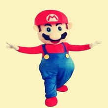 Hot selling 2014 Adult lovely Super Mario Mascot Costume fancy dress cartoon party costume+Cardboard head