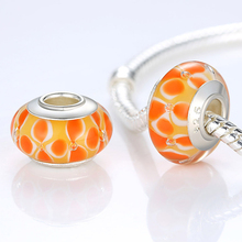 Top Quality Silver Plated DIY Orange Murano Glass Beads Fit Original Pandora Bracelet Charms For Women Jewelry Gift