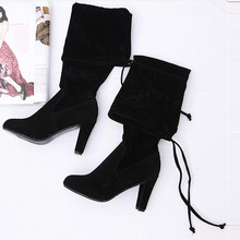 2017 Spring Women Suede Thigh High Boots Over the Knee Boots Stretch Sexy Botas Overknee High Heels Shoes Black Gray Bordeaux