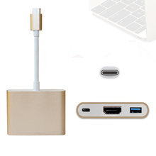 "USB 3.1 Type-C to HDMI USB 3.0 USB-C Multiport charging port OTG Adapter Cable for Macbook 12"" Digital Camera HDTV Projector(China)"