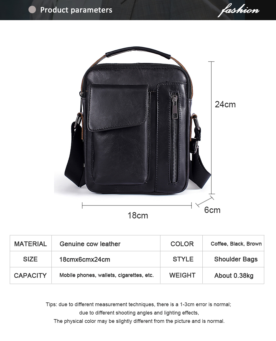 Men's Bags Genuine Leather Bag Male Messenger Crossbody Bags Casual Cowhide Flap Leather Men Shoulder Bag Man (1)