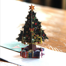Christmas Tree 3D Greeting Cards New Year Event Party Supplies Paper DIY Hand Made Christmas Gifts Souvenirs Postcards KO978221(China)