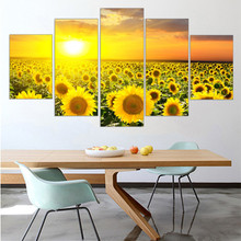 Customizable box sun sunflower hope painting canvas print Home Home Decor 5 board map canvas wall art paingting