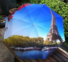 Paris Eiffel Tower Oil painting umbrella Beautiful painting Sun protection and rain umbrella for women(China)