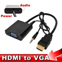HDMI Male to VGA Female Converter Adapter + Audio Cable HD 1080P HDMI to VGA Cable for Xbox 360 PS3 HDTV