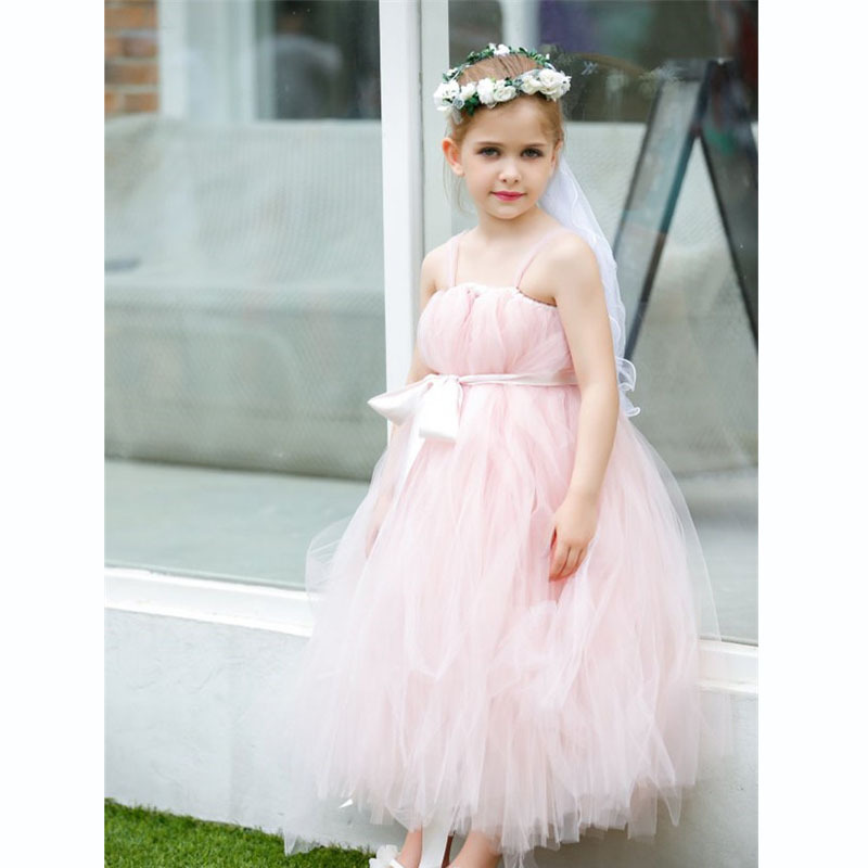 New 2017 tutu tulle pink baby bridesmaid flower girl wedding dress fluffy ball gown USA birthday evening prom cloth party dress<br><br>Aliexpress
